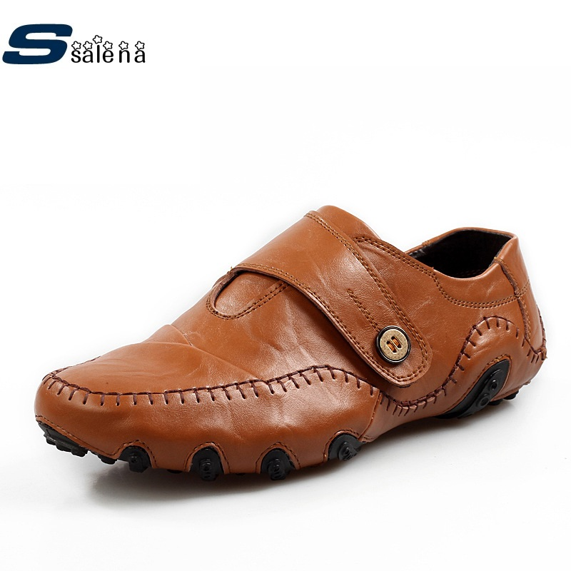 Genuine Leather Men Casual Shoes Fashion Flat With Boat Shoes For All Season A283 genuine leather shoes men casual