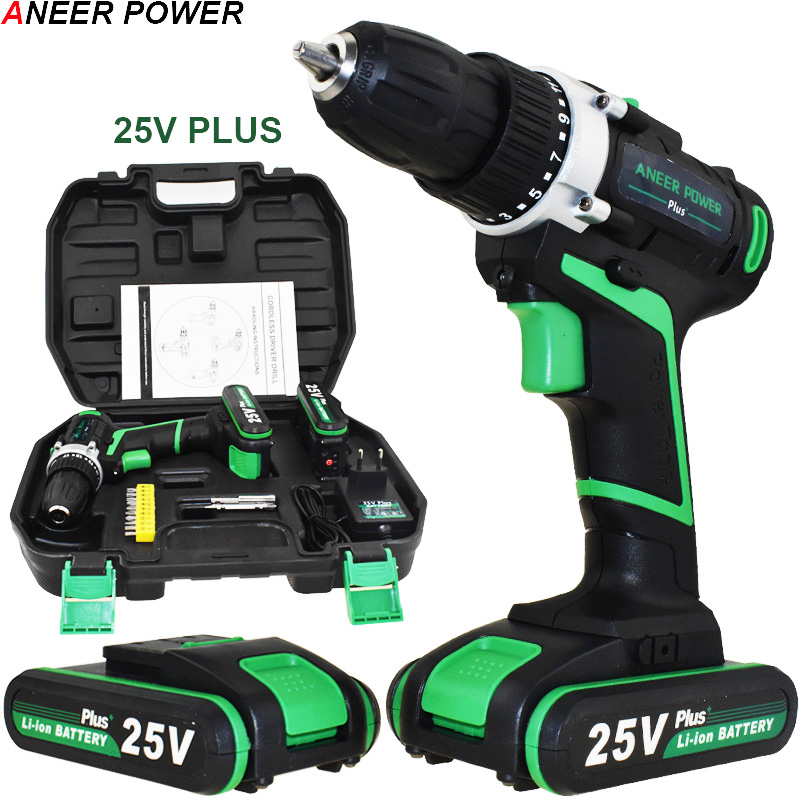 25V Plus Cordless Drill Electric Drill Electric 2 Batteries Screwdriver Power Tools Mini Drill Drilling Electric Screwdriver free shipping brand proskit upt 32007d frequency modulated electric screwdriver 2 electric screwdriver bit 900 1300rpm tools