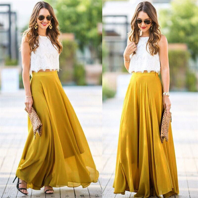 HOT sell Fashion 2018 Summer style skirts womens Chiffon Stretch High Waist Maxi Skater Flared Pleated Long Skirt Saia Y05#N (6)