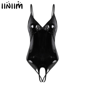 iiniim Womens Lingerie Body Suit Femme Open Crotch Wetlook Costumes Leather Straps Crotchless Sissy Clubwear Bodysuit Catsuit(China)