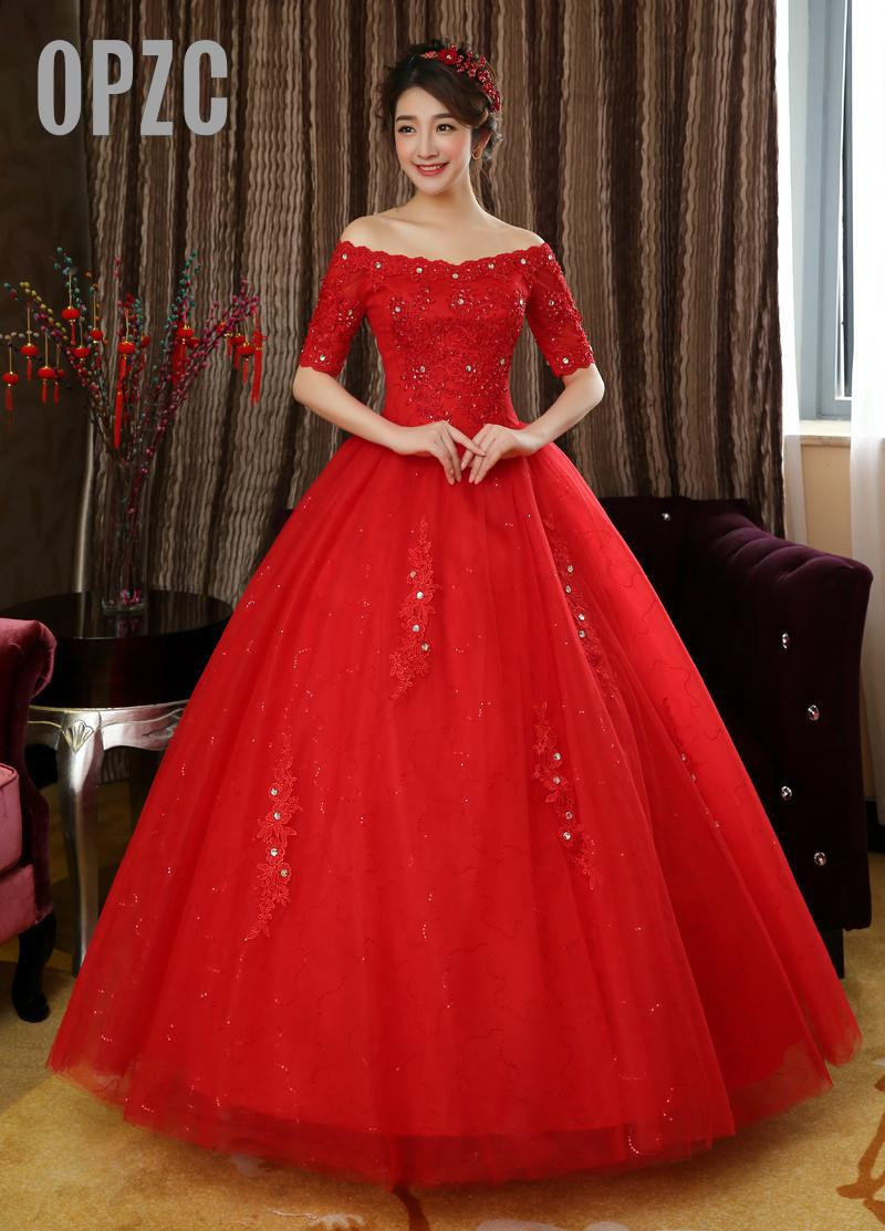 Free shipping 2018 New Desing Half Sleeves Red White Wedding Dresses Princess Lace Sex Wedding Gowns