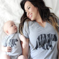 Family Matching Outfits Mom and Baby Clothes Mama Gray Bear Tee Short Sleeve and Baby Cute Bear Letter Bodysuit Matching Set