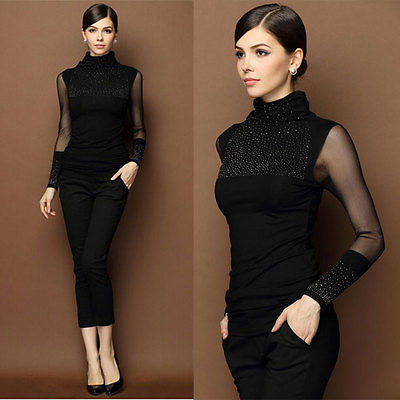 Women's Clothing Womens Lace Mesh Long Sleeve Patchwork Shiny Bling Turtle Neck Diamond Print Top Basic Blouse Customers First
