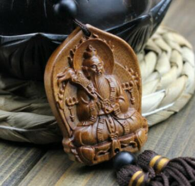 Wood Carving Chinese Taoism Lord Lao Zi God Car Pendant Amulet Craft