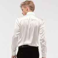 FANZHUAN Free Shipping New fashion personality male Men's Wedding White groom badges stand collar long sleeved loose shirt 14276 3