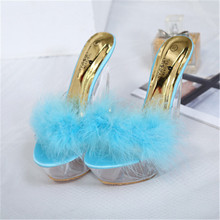 FeiYiTu Sexy Super High Heels 14CM Transparent Crystal Sandals Slippers With Feathers Nightclub Sexy Woman Shoes Eu size 34-40