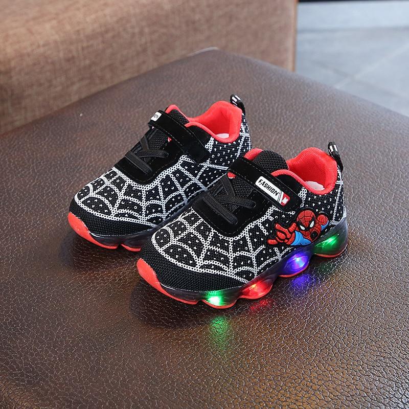 Davidyue Spiderman niños deportes zapatillas niños brillantes niños zapato Chaussure Enfant niñas con luz LED