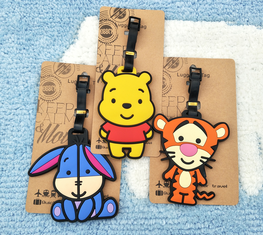IVYYE Tigger Eeyore Anime Travel Accessories Luggage Tag Suitcase ID Address Portable Tags Baggage Labels Gifts New