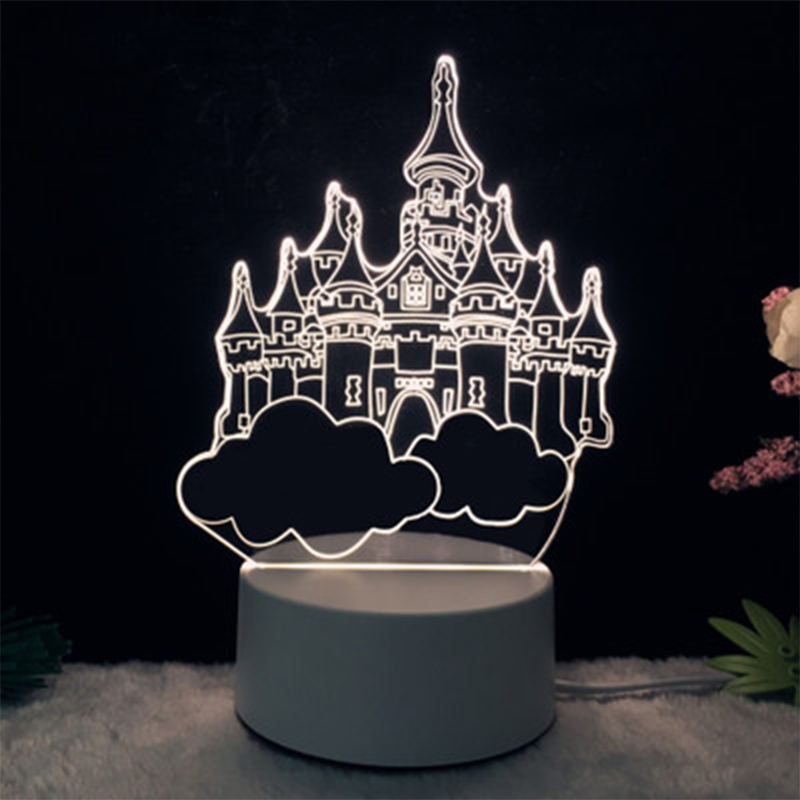 Creative 3D Small Night Light Acrylic LED Table Lamp Tower Moon Cartoon Animal Luminous Pattern Gifts Bedroom Decoration HR