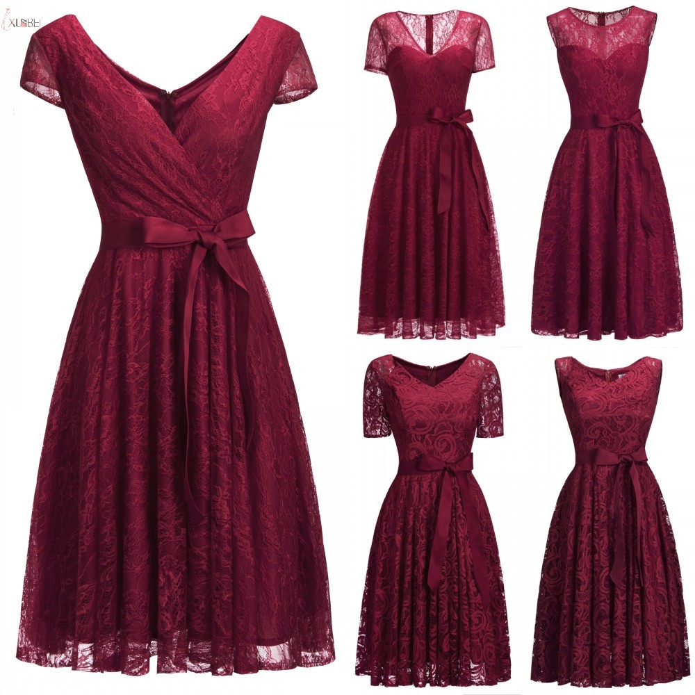 5 Styles Burgundy 2019 Short Lace robe   Cocktail     Dresses   V Neck Sleeveless