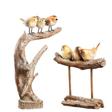 Nordic Pastoral Bird Resin Decoration Crafts Figurines Miniatures Creative Resin Wedding Gift Home Decoration Accessories Modern(China)