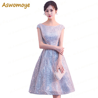 Aswomoye Short Evening Dress 2018 New Stylish Silver Sequin Party Dress  Sleeveless O-neck Prom 6d85a4fe1b46