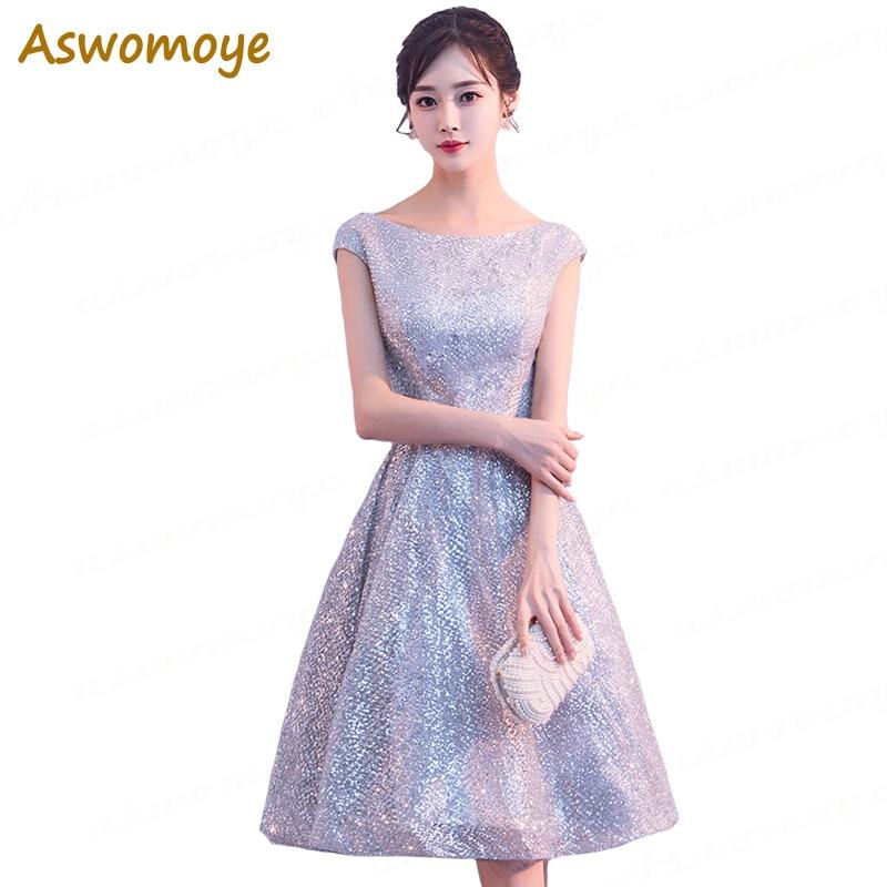 Aswomoye Short   Evening     Dress   2018 New Stylish Silver Sequin Party   Dress   Sleeveless O-neck Prom   Dresses   robe de soiree
