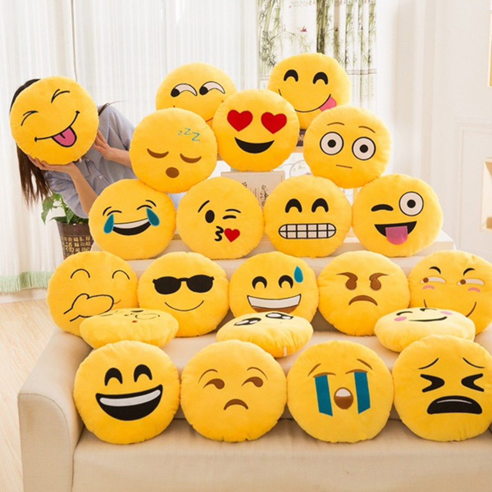32cm Soft Emoji Smiley Emoticon Round Cushion Pillow Sofa case Stuffed Plush Toy Doll Christmas Emoji best Christmas gift Y1 letter word printing soft plush square pillow case