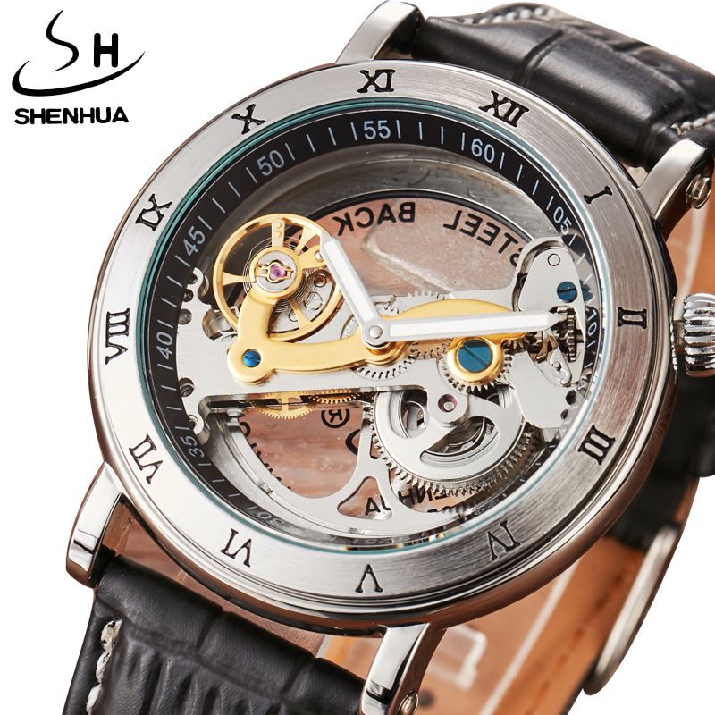 3ATM Waterproof Automatic Watches Men Luxury Fashion Brand Shenhua Mechanical Watch Transparent Unique Design Men's Womens Watch