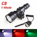 1 Set Tactical Flashlight White/Green/Red CREE T6 led Hunting Rifle torch lighting+Pressure Switch Mount Hunting Rifle Gun Lamp