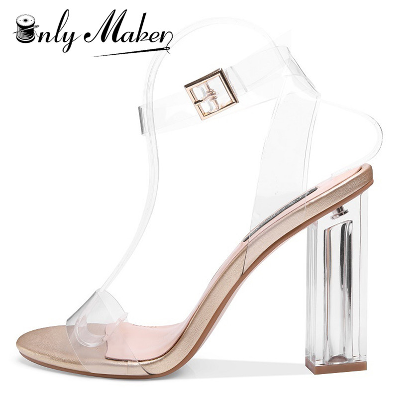 onlymaker Women's Lucite Clear Ankle Strap Adjustable Buckle Block Chunky Perspex High Heel Transparent Dress Sandals US15 стинг sting the best of 25 years 2 cd