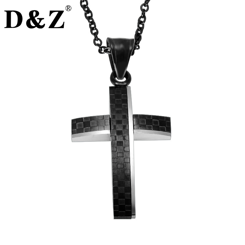 D&Z Religious Black Polishing Pattern Crucifix Necklace Stainless Steel Prayer Cross Pendants & Necklaces for Christian Jewelry ...