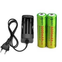 2 шт перезаряжаемый 5000mAh литий-ионный 18650 3,7 V аккумулятор и двойное умное зарядное устройство для светодиодного фонарика налобный фонарь