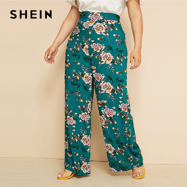 SHEIN Plus Size Green High Waist Floral Print Wide Leg Pants 2019 Women Summer Boho Casual Long Loose Plus Trousers Pants 1