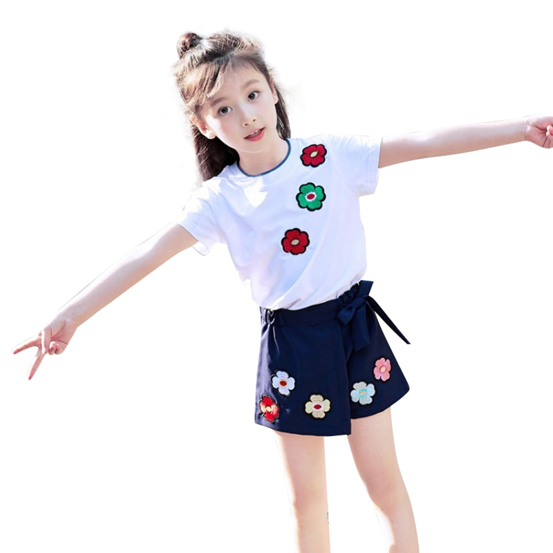 New Summer Girls Children Korean Floral Round Neck Cropped Trousers Kids Suit