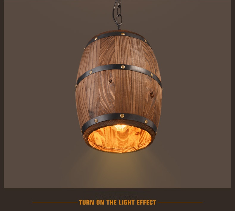 Retro loft wood cask pendant lamp restaurant warehouse dining room Wine cellar aisle corridor pub cafe chandelier barrel light mediterranean light 3 birds loft pendant lamp retro restaurant balcony dining room aisle cafe store lights e27 fabric chandelier