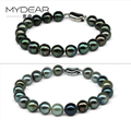 MYDEAR Real Pearls Bracelets For Women Classic 9-10mm Natural High Luster Tahitian Pearls Jewelry,Best Christmas Gift