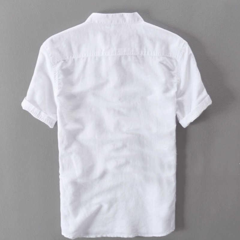 メンズシャツファッション 2019 夏半袖スリムコットンリネンシャツ男性ホワイトカラーカジュアルシャツプラスサイズトップス y001