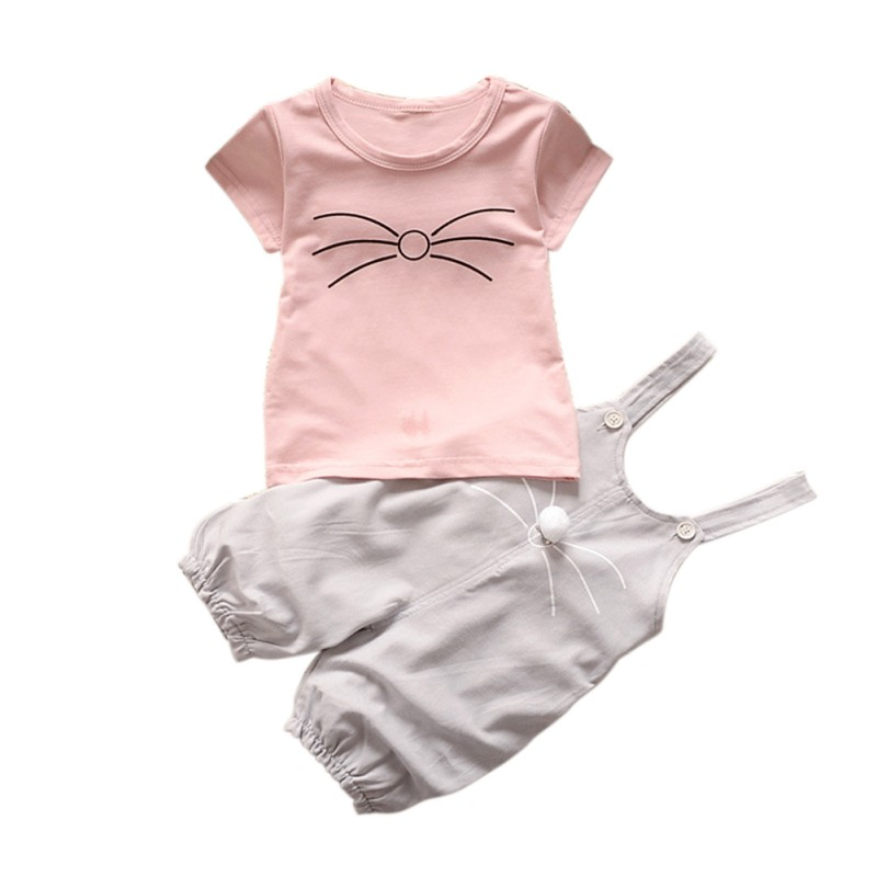 2017 Cute Baby Girls Cloth Outfits Set Summer Cotton Overall Pants+ Short Sleeve T-Shirt Set ...