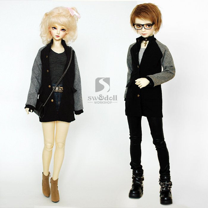 Sports Baseball Jacket Coat Long Section for BJD Doll 1/4 MSD,1/3 SD10/SD13 SD17,Uncle,SSDF AS SD,Luts,DZ Doll Clothes CM59 fashion sweater for bjd 1 3 1 4 uncle doll clothes accessories 4 colors