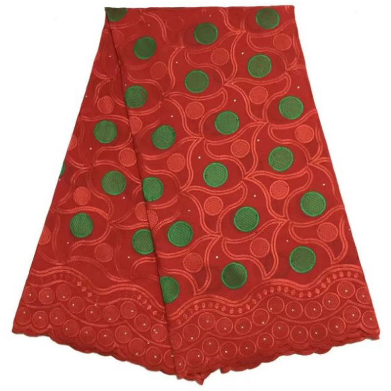(5yards/pc) Red and green African cotton lace fabric embroidery Swiss voile lace fabric for making party dress CLS169