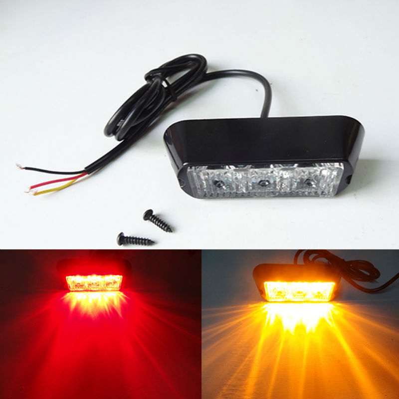 3 LED Car Strobe Warning Light 12V External Light Bar IP65 Waterproof Flash Emergency Harzard Light For Car Truck SUV Jeep