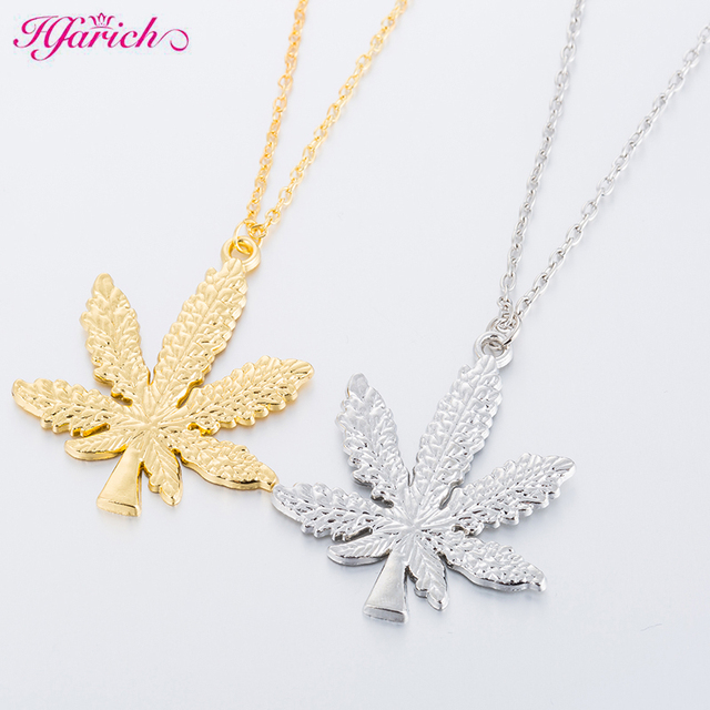 Hfarich Maple Leaf necklaces & pendants Gold Silver Color boho Cannabiss Weed Herb Charm Necklace Hip Hop Tropical Leaf Jewelry  1