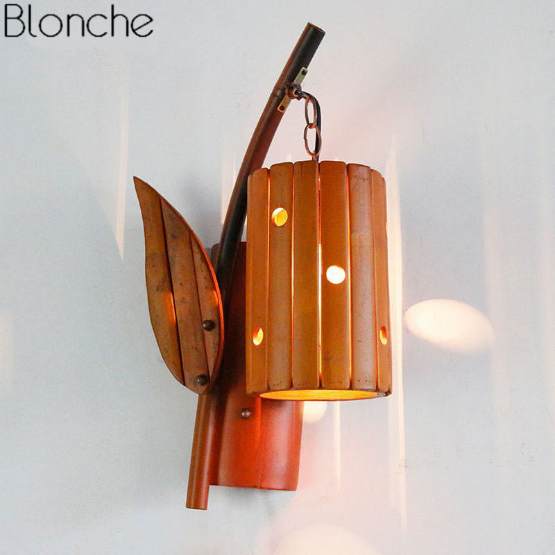 newest 0bc1e 600e6 Modern Mediterranea Wall Lamp Bamboo Wall Sconce LED Antique Light Fixtures  Home Industrial Decor for Bedroom Indoor Luminaires