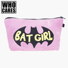 Batgirl pink 3D Printing 2017 New women cosmetic bag neceser makeup pouch travel bolsos mujer de marca famosa toiletry organizer