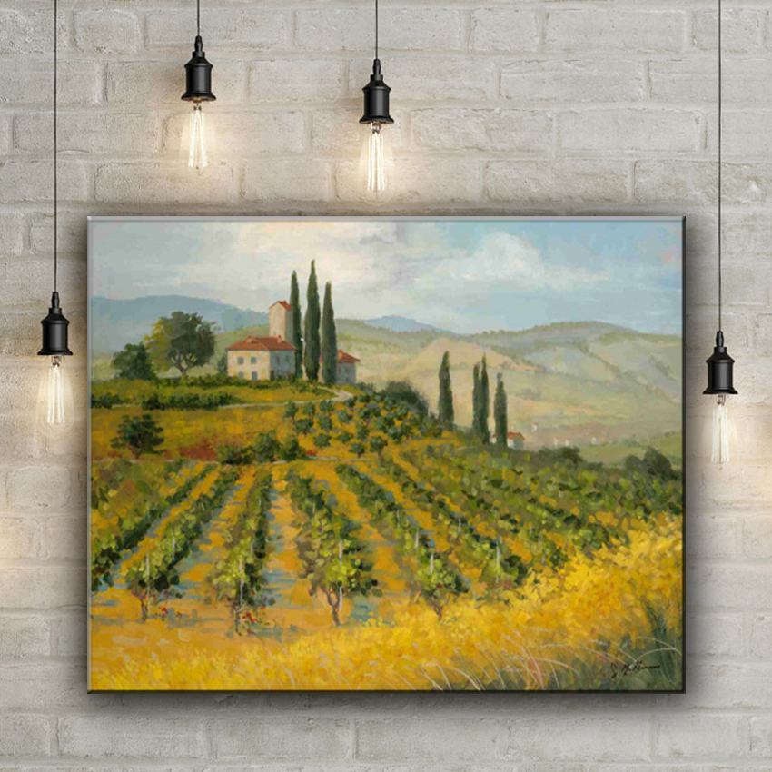 classical spring green tree house landscape canvas printings oil ...