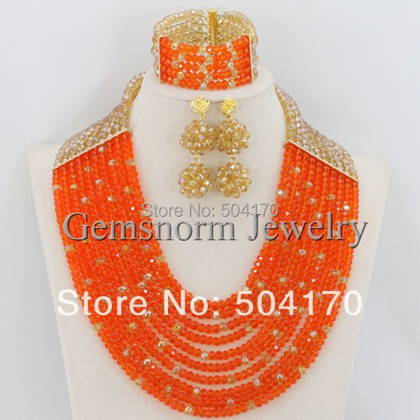 2017 Latest New Orange and Gold Nigerian Wedding Beads Jewelry Set African Bridal Jewelry Set Gift Free Shipping GS116