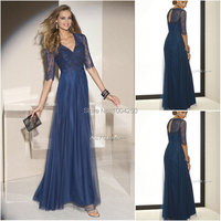 Fashion Sexy V Neck Long Evening Dress 2018 With Sleeves A Line Mother Gown Wedding Bride Elegant Evening Mother Dress