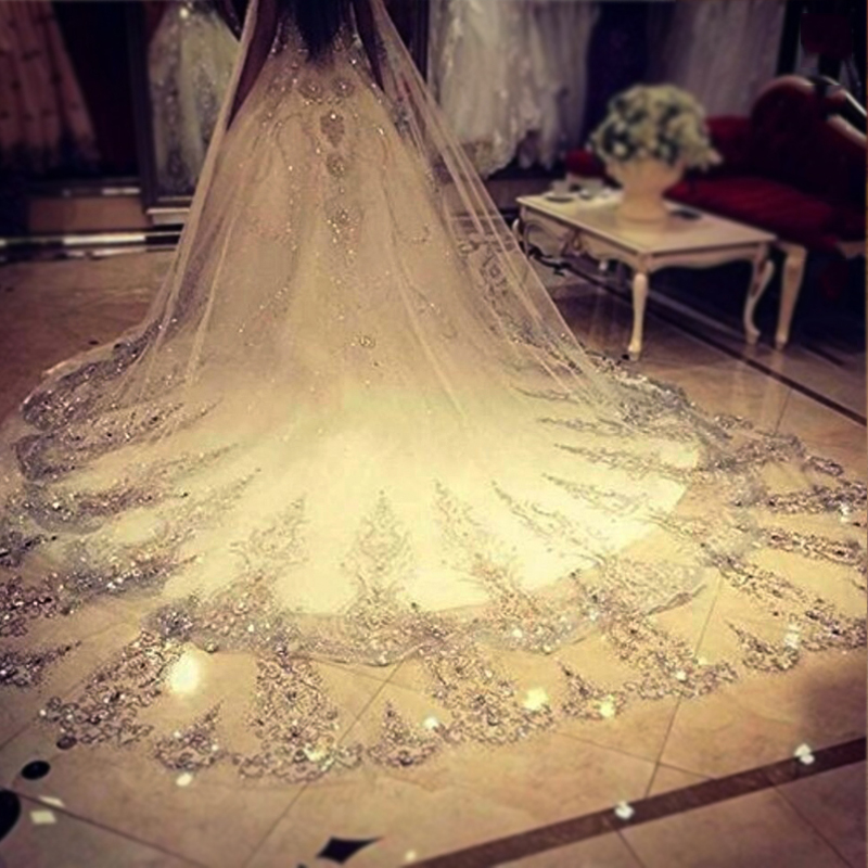 2019 Luxury Real Image Wedding Veils 3.8-5 Meter Long Lace Applique Crystals Cathedral Length White Bridal Veil High Quality