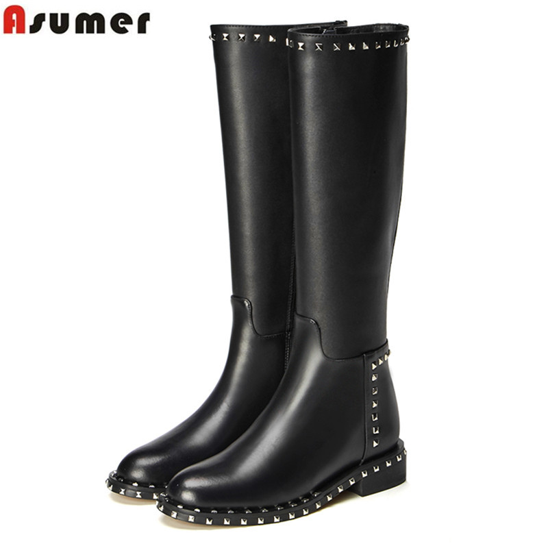ASUMER 2019 New Genuine leather Boots rivets square heel womens winter boots punk ladies knee high boots EUR SIZE 34-41ASUMER 2019 New Genuine leather Boots rivets square heel womens winter boots punk ladies knee high boots EUR SIZE 34-41