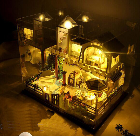 New arrive Christmas GIFT  DIY big house with dustproof Wooden Doll House With Furniture Dolls with music 3D Puzzle Toy Gifts handmade chinese ancient doll tang beauty princess pingyang 1 6 bjd dolls 12 jointed doll toy for girl christmas gift brinquedo