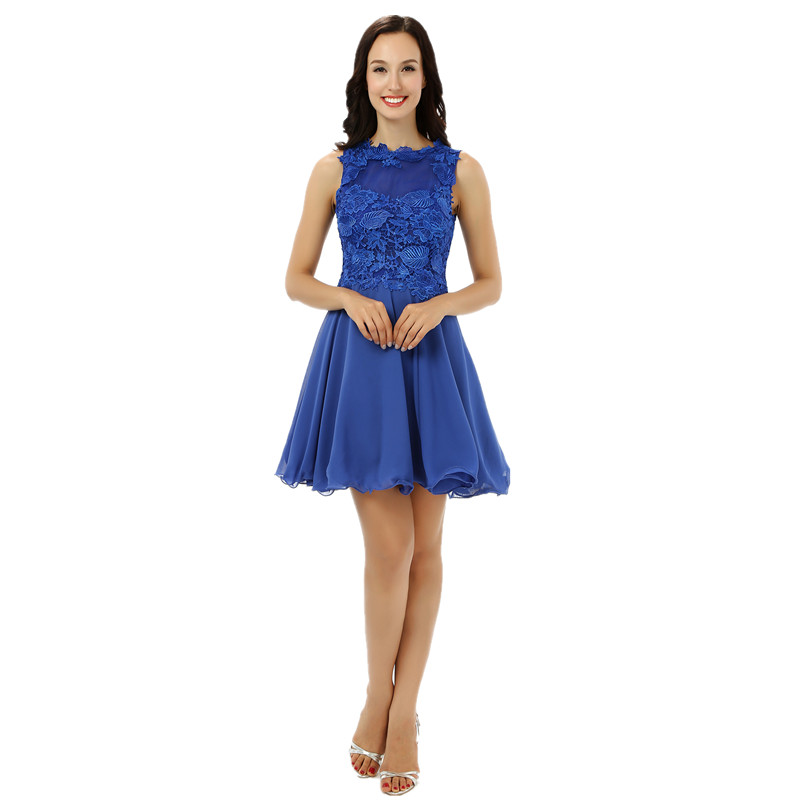 Real Royal Blue Lace Chiffon Semi Formal Prom Dress Short