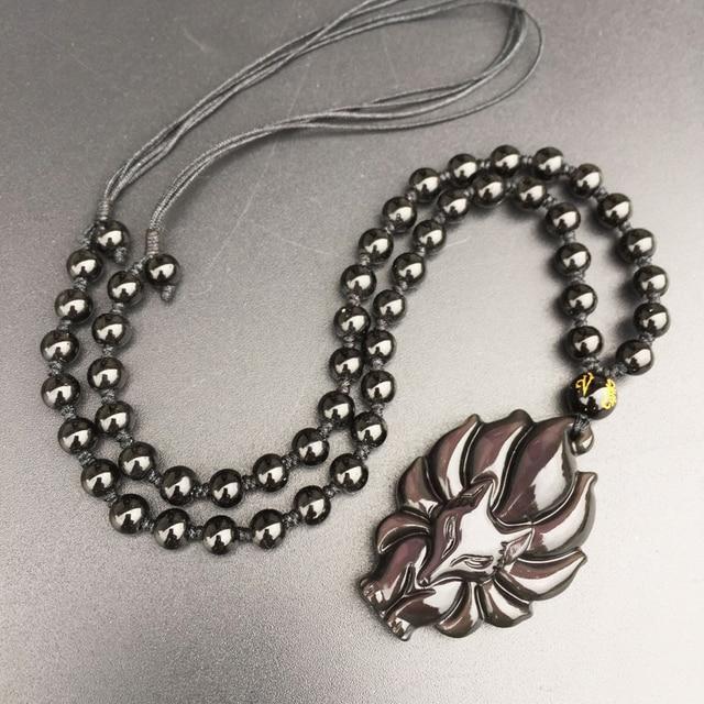 Прямая поставка Женское Ожерелье подвеска из натурального обсидиана