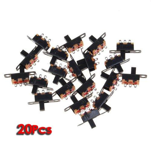 WSFS Hot 20pcs 5V 0.3 A Mini Size Black SPDT Slide Switch for Small DIY Power