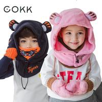 COKK Winter Hats For Girls Boys Children Winter Cap Cartoon Animal Tiger Ear Neck Protect Thick