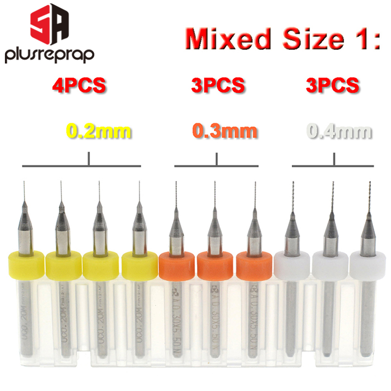 10PCS Mixed 0.2mm 0.3mm 0.4mm Or 0.5mm 0.6mm 0.8mm 1.0mm 3D Printer Nozzle Cleaning Drill Bits Kit Fit MK7 MK8 Print Nozzle