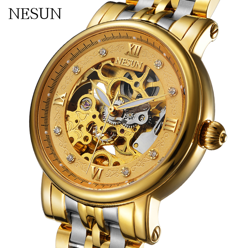 NESUN 2018 New Men Business Self-Wind Hollow Automatic Mechanical Wristwatches Luxury Waterproof Watches Male Clock Relogio Masc new korean watch men band luxury male watches automatic self wind mechanical wristwatches belt strap waterproof tourbill 8502