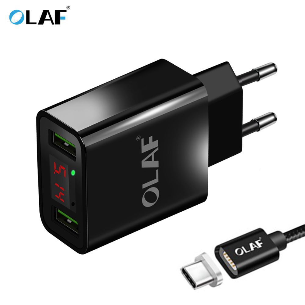 OLAF USB Charger LED Digital Display Fast Charging Wall Charger For iphone Micro USB Type C Magnetic Cable Mobile Phone Chargers