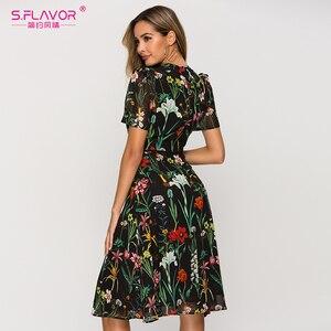 Image 2 - S.風味半袖プリントドレス女性の新しいファッションシフォンスリムaラインドレスボヘミアン夏ミディドレス