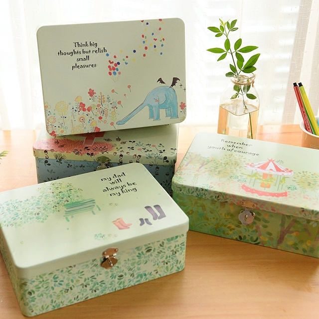 Multifunction Make Up Storage Box,Cartoon Portable Metal Storage Container  With Lock,Large Capacity